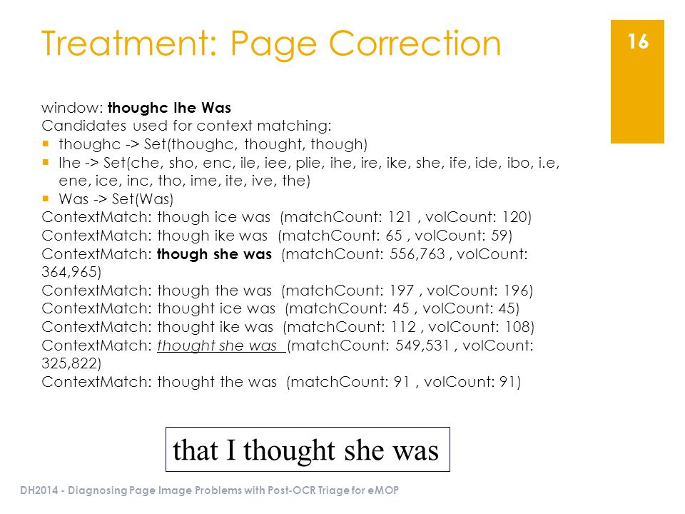 DH2014 - Diagnosing Page Image Problems with Post-OCR Triage for eMOP 16 Treatment: Page Correction window: thoughc Ihe Was Candidates used for contex