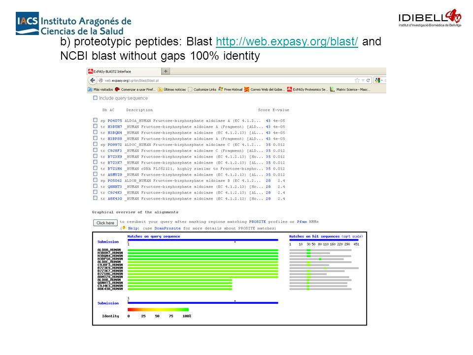 b) proteotypic peptides: Blast http://web.expasy.org/blast/ and NCBI blast without gaps 100% identityhttp://web.expasy.org/blast/