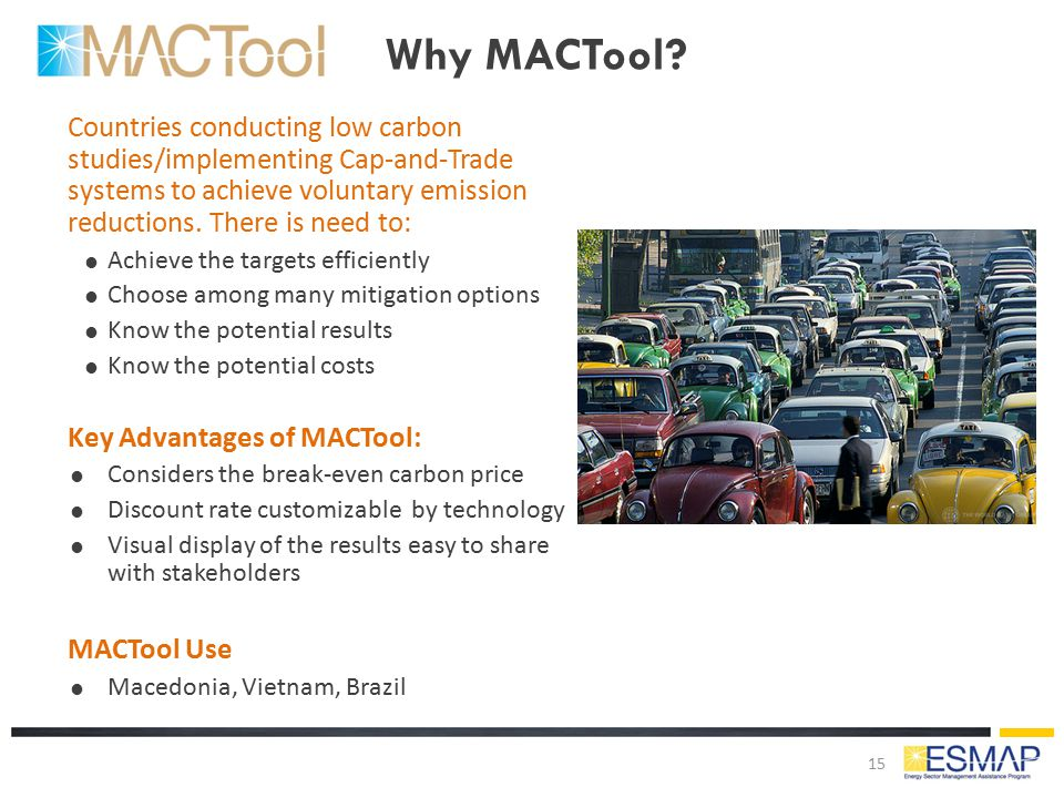 Why MACTool? Countries conducting low carbon studies/implementing Cap-and-Trade systems to achieve voluntary emission reductions. There is need to: 