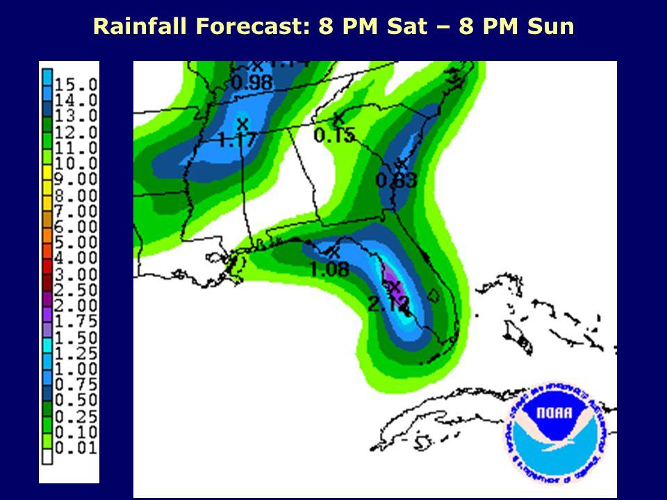 Rainfall Forecast: 8 PM Sat – 8 PM Sun