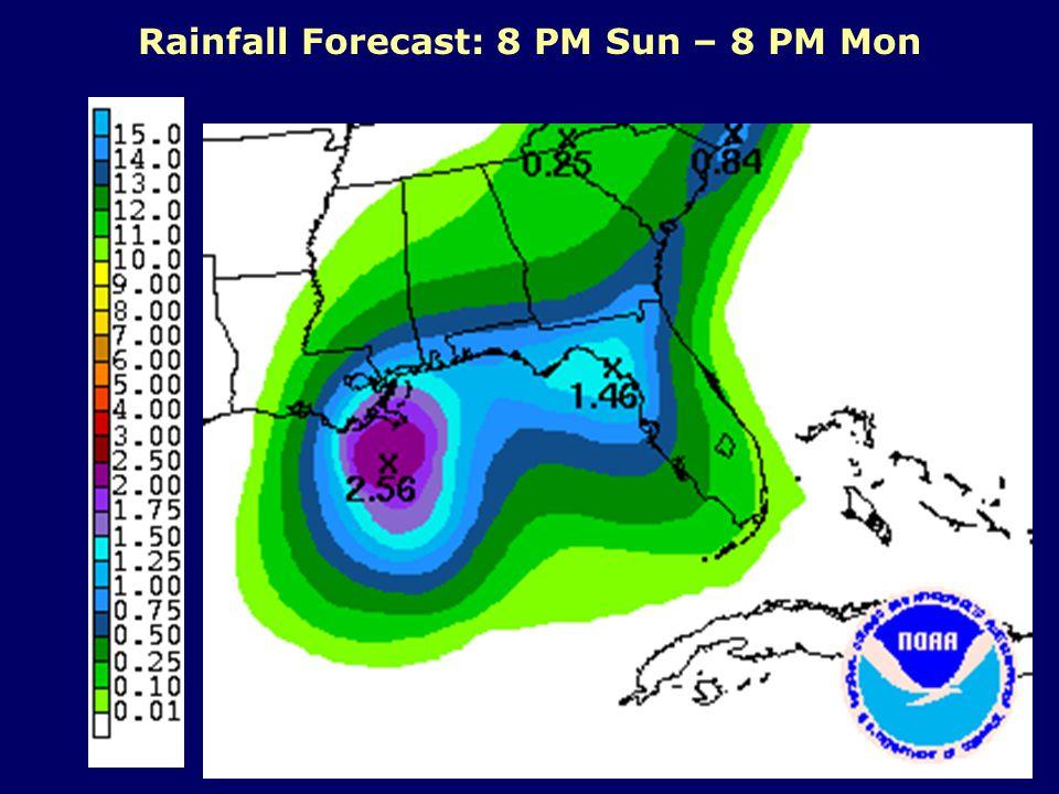 Rainfall Forecast: 8 PM Sun – 8 PM Mon