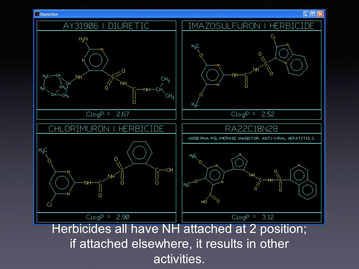 Herbicides all have NH attached at 2 position; if attached elsewhere, it results in other activities.