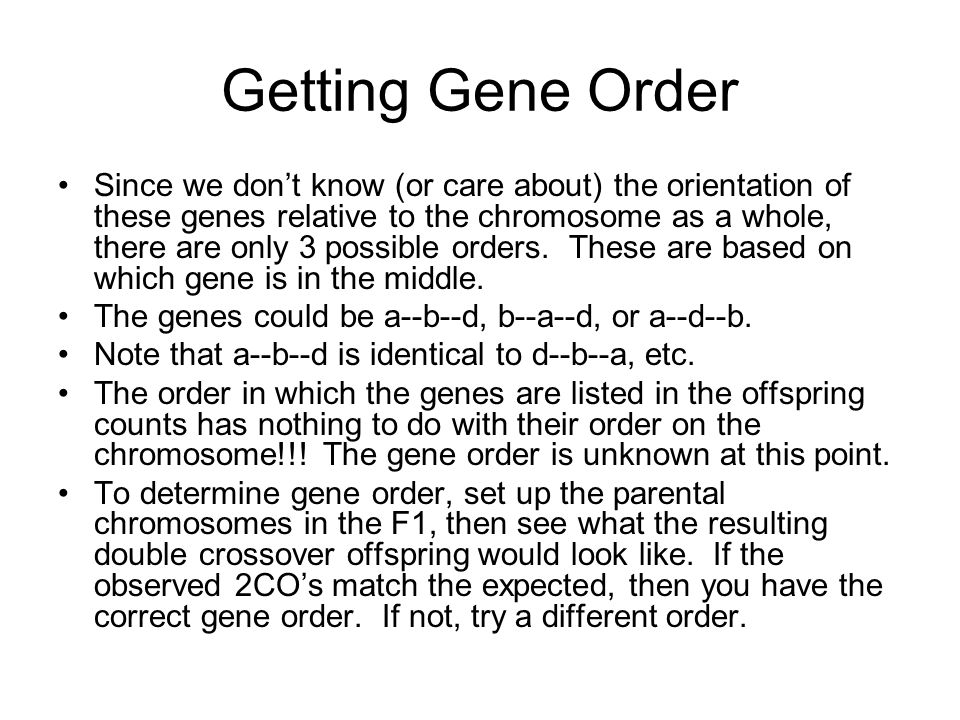 Getting Gene Order Since we don't know (or care about) the orientation of these genes relative to the chromosome as a whole, there are only 3 possible orders.