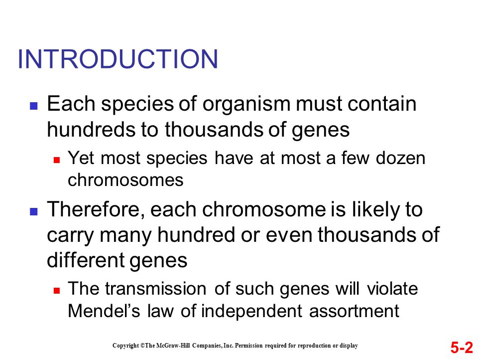 INTRODUCTION Each species of organism must contain hundreds to thousands of genes Yet most species have at most a few dozen chromosomes Therefore, each chromosome is likely to carry many hundred or even thousands of different genes The transmission of such genes will violate Mendel's law of independent assortment 5-2 Copyright ©The McGraw-Hill Companies, Inc.