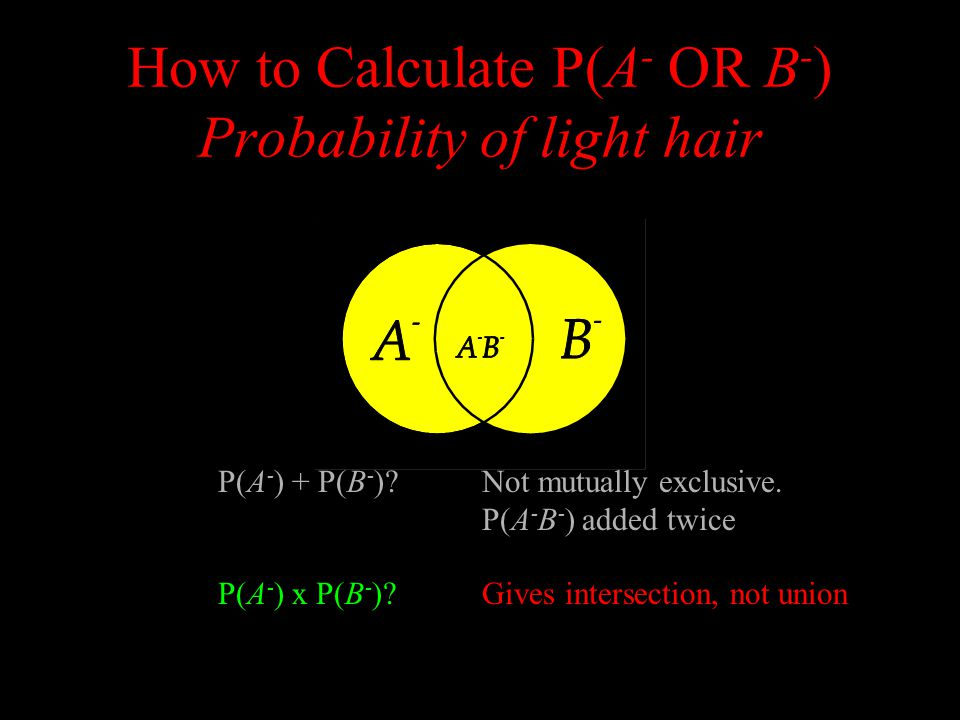How to Calculate P(A - OR B - ) Probability of light hair P(A - ) + P(B - ) Not mutually exclusive.
