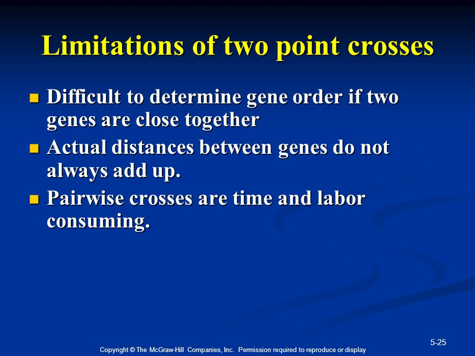 5-25 Copyright © The McGraw-Hill Companies, Inc. Permission required to reproduce or display Limitations of two point crosses Difficult to determine g