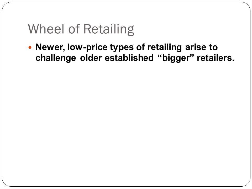 "Wheel of Retailing Newer, low-price types of retailing arise to challenge older established ""bigger"" retailers."