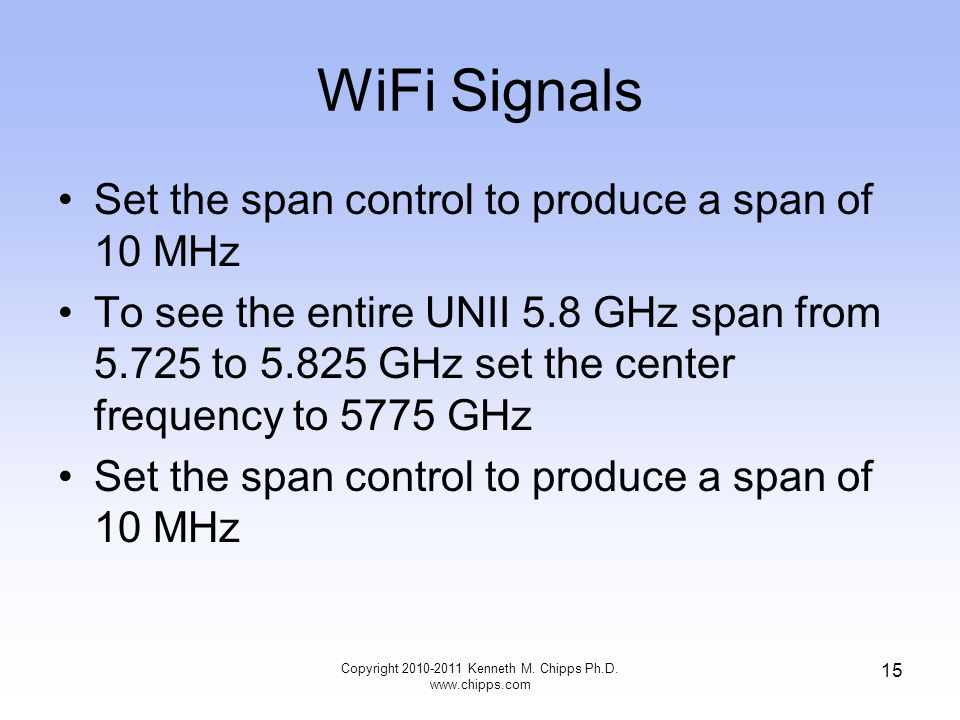WiFi Signals Set the span control to produce a span of 10 MHz To see the entire UNII 5.8 GHz span from 5.725 to 5.825 GHz set the center frequency to 5775 GHz Set the span control to produce a span of 10 MHz Copyright 2010-2011 Kenneth M.