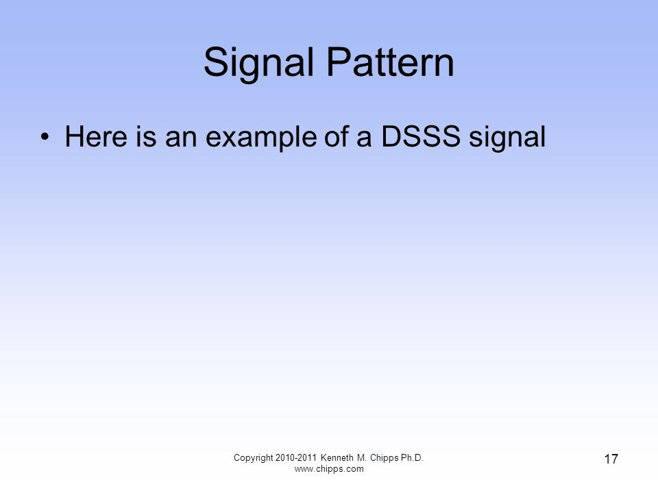 Signal Pattern Here is an example of a DSSS signal Copyright 2010-2011 Kenneth M.