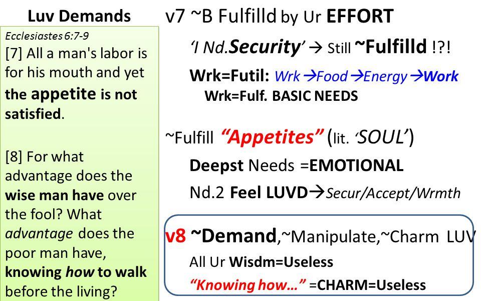 "Luv Demands v7 ~B Fulfilld by Ur EFFORT 'I Nd. Security '  Still ~Fulfilld !?! Wrk=Futil: Wrk  Food  Energy  Work Wrk=Fulf. BASIC NEEDS ~Fulfill """