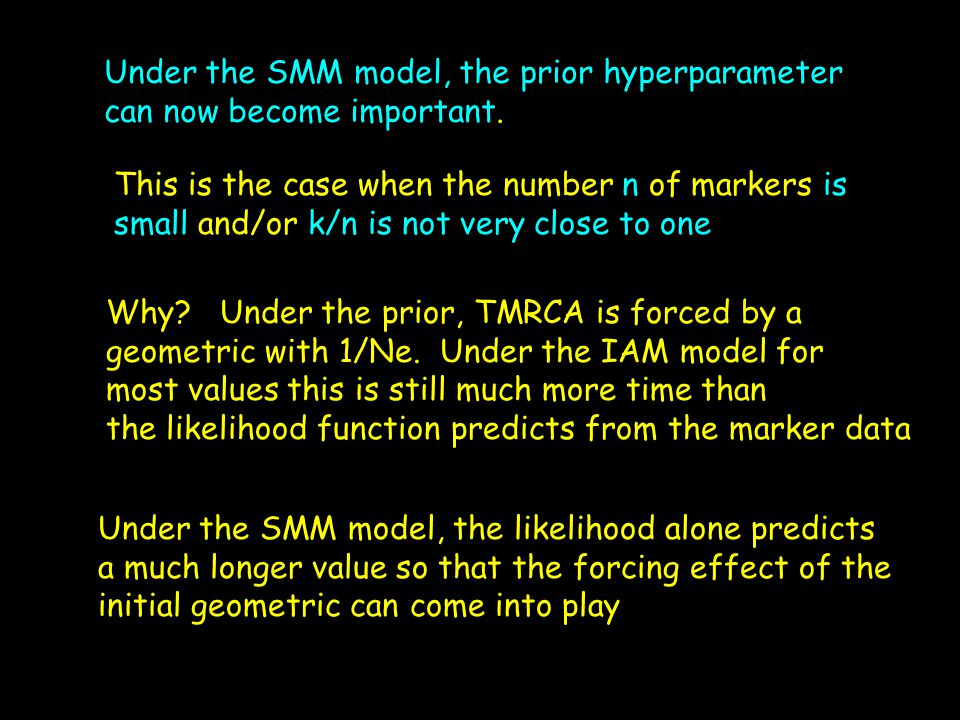 Under the SMM model, the prior hyperparameter can now become important. This is the case when the number n of markers is small and/or k/n is not very