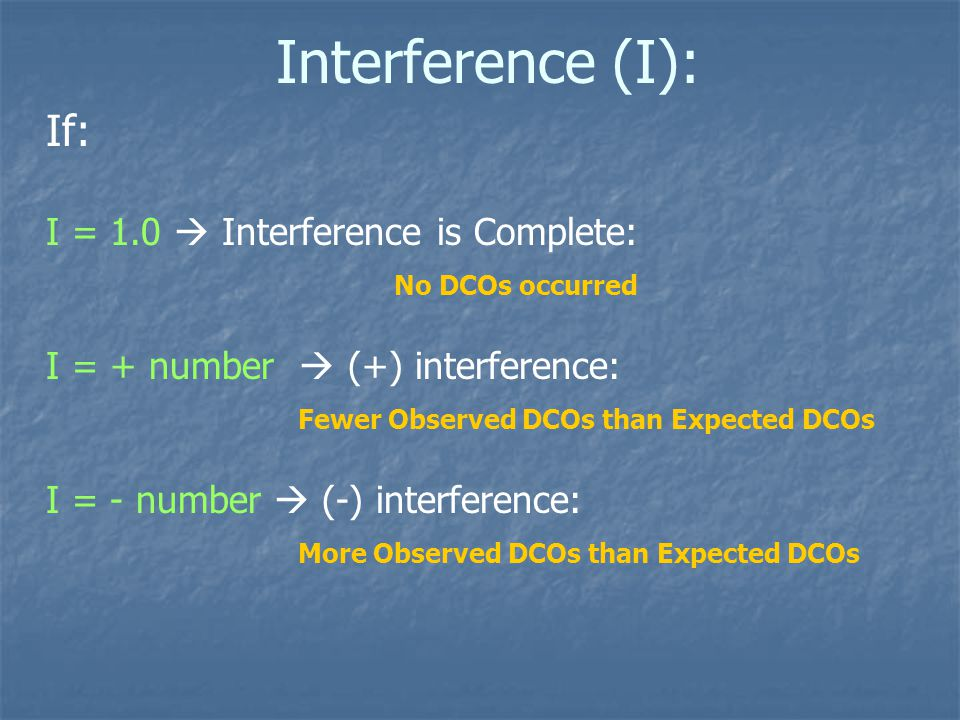 Interference (I): If: I = 1.0  Interference is Complete: No DCOs occurred I = + number  (+) interference: Fewer Observed DCOs than Expected DCOs I = - number  (-) interference: More Observed DCOs than Expected DCOs
