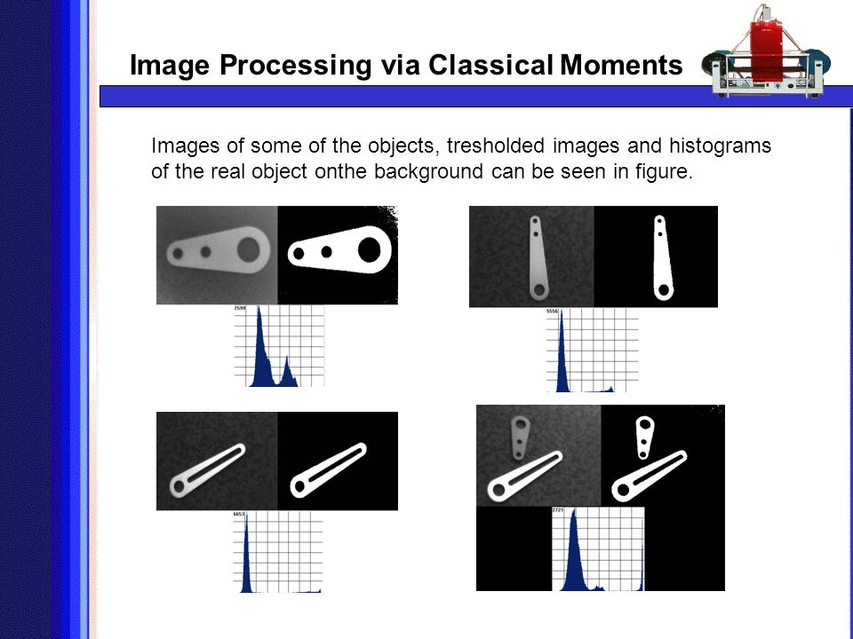 Image Processing via Classical Moments Images of some of the objects, tresholded images and histograms of the real object onthe background can be seen