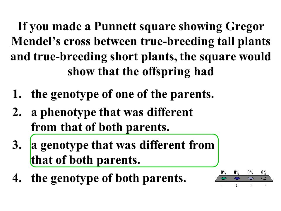 If you made a Punnett square showing Gregor Mendel's cross between true-breeding tall plants and true-breeding short plants, the square would show tha