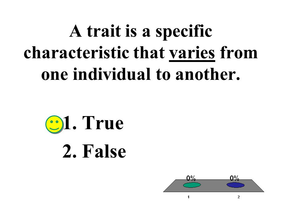 A trait is a specific characteristic that varies from one individual to another. 1.True 2.False