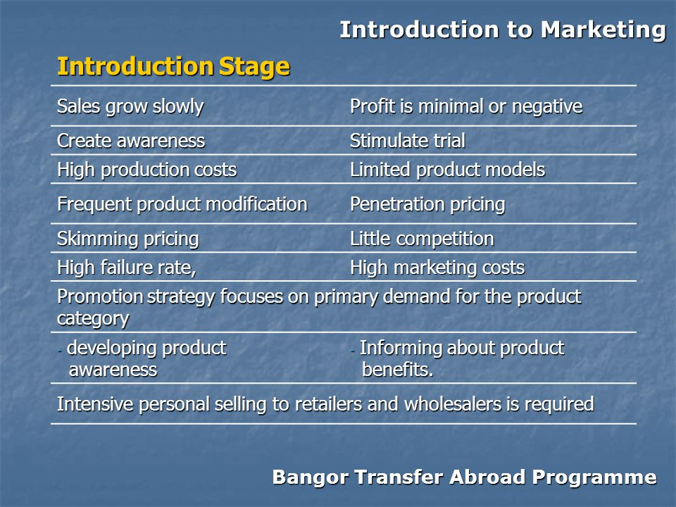 Bangor Transfer Abroad Programme Introduction to Marketing Introduction Stage Sales grow slowly Profit is minimal or negative Create awareness Stimulate trial High production costs Limited product models Frequent product modification Penetration pricing Skimming pricing Little competition High failure rate, High marketing costs Promotion strategy focuses on primary demand for the product category - developing product awareness awareness - Informing about product benefits.