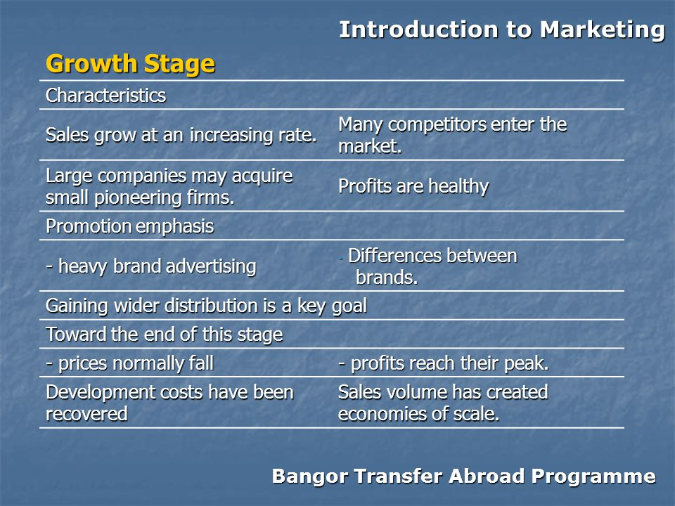 Bangor Transfer Abroad Programme Introduction to Marketing Growth Stage Characteristics Sales grow at an increasing rate.