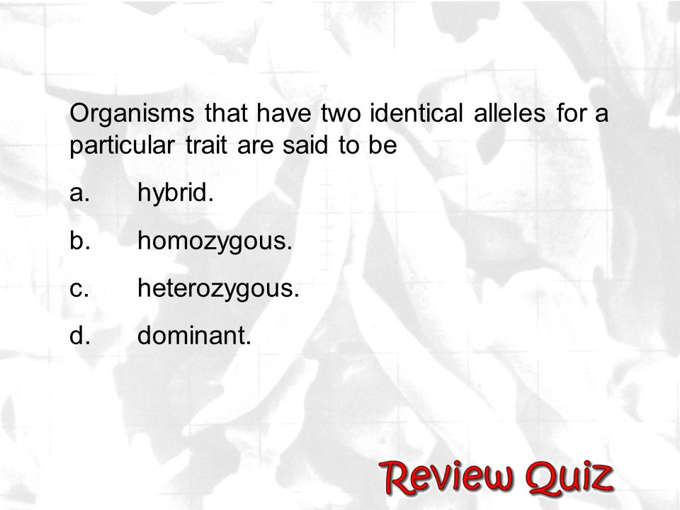 Organisms that have two identical alleles for a particular trait are said to be a.hybrid. b.homozygous. c.heterozygous. d.dominant.