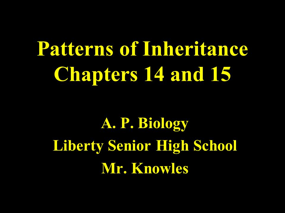 Patterns of Inheritance Chapters 14 and 15 A. P. Biology Liberty Senior High School Mr. Knowles