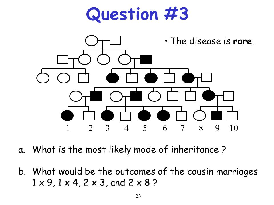 23 Question #3 1 2345678910 a.What is the most likely mode of inheritance ? b.What would be the outcomes of the cousin marriages 1 x 9, 1 x 4, 2 x 3,