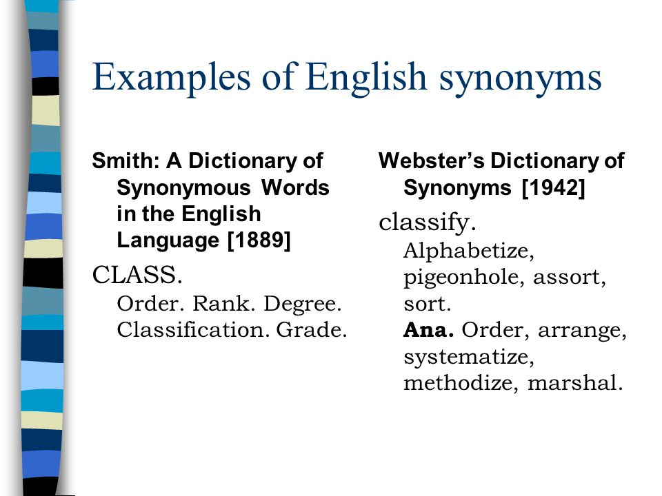 Examples of English synonyms Smith: A Dictionary of Synonymous Words in the English Language [1889] CLASS.