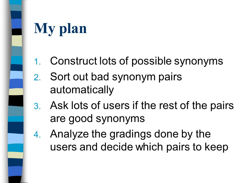 My plan 1. Construct lots of possible synonyms 2.