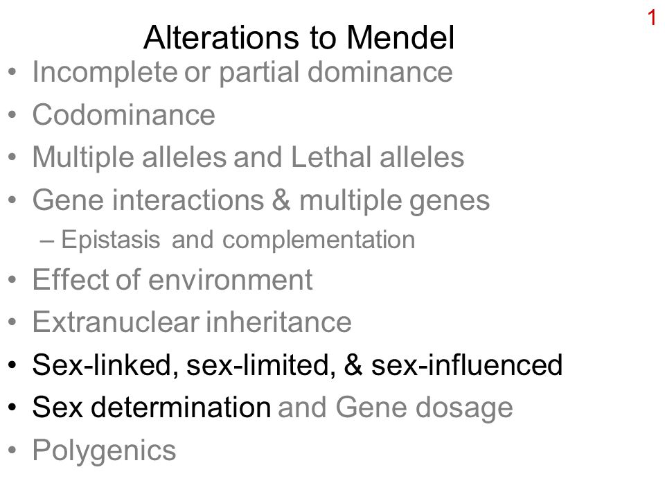 1 Alterations to Mendel Incomplete or partial dominance Codominance Multiple alleles and Lethal alleles Gene interactions & multiple genes –Epistasis and complementation Effect of environment Extranuclear inheritance Sex-linked, sex-limited, & sex-influenced Sex determination and Gene dosage Polygenics