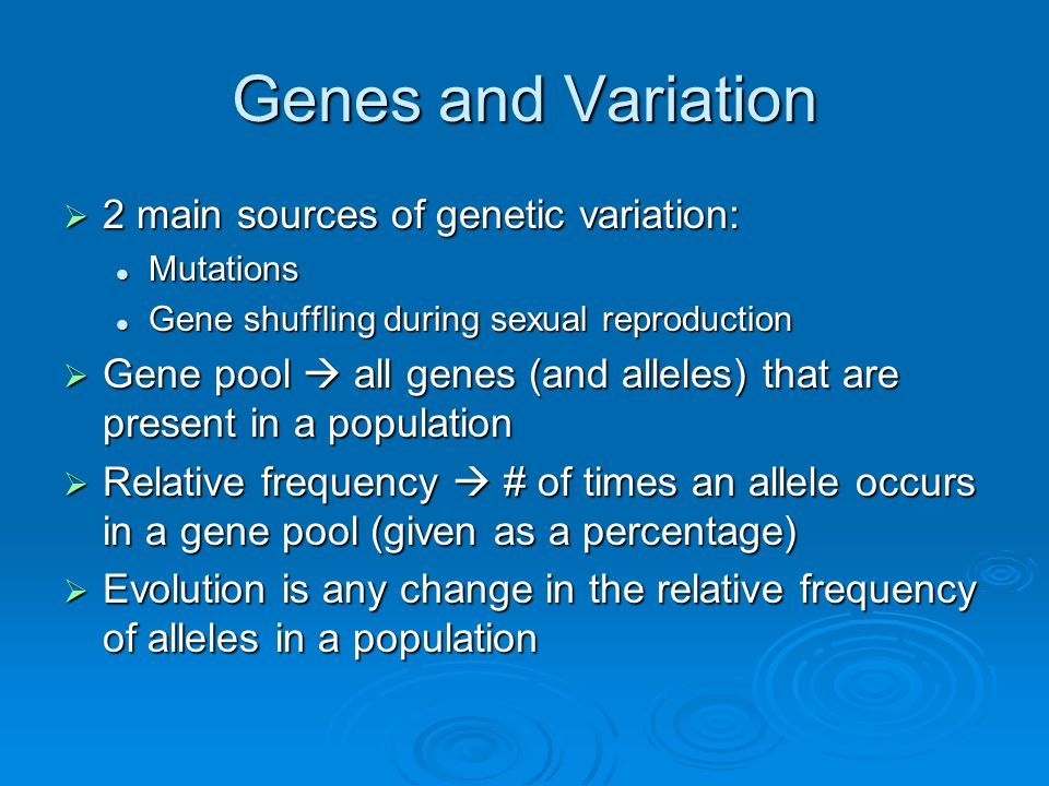 Genes and Variation  2 main sources of genetic variation: Mutations Mutations Gene shuffling during sexual reproduction Gene shuffling during sexual reproduction  Gene pool  all genes (and alleles) that are present in a population  Relative frequency  # of times an allele occurs in a gene pool (given as a percentage)  Evolution is any change in the relative frequency of alleles in a population