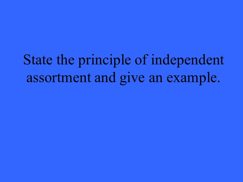 State the principle of independent assortment and give an example.