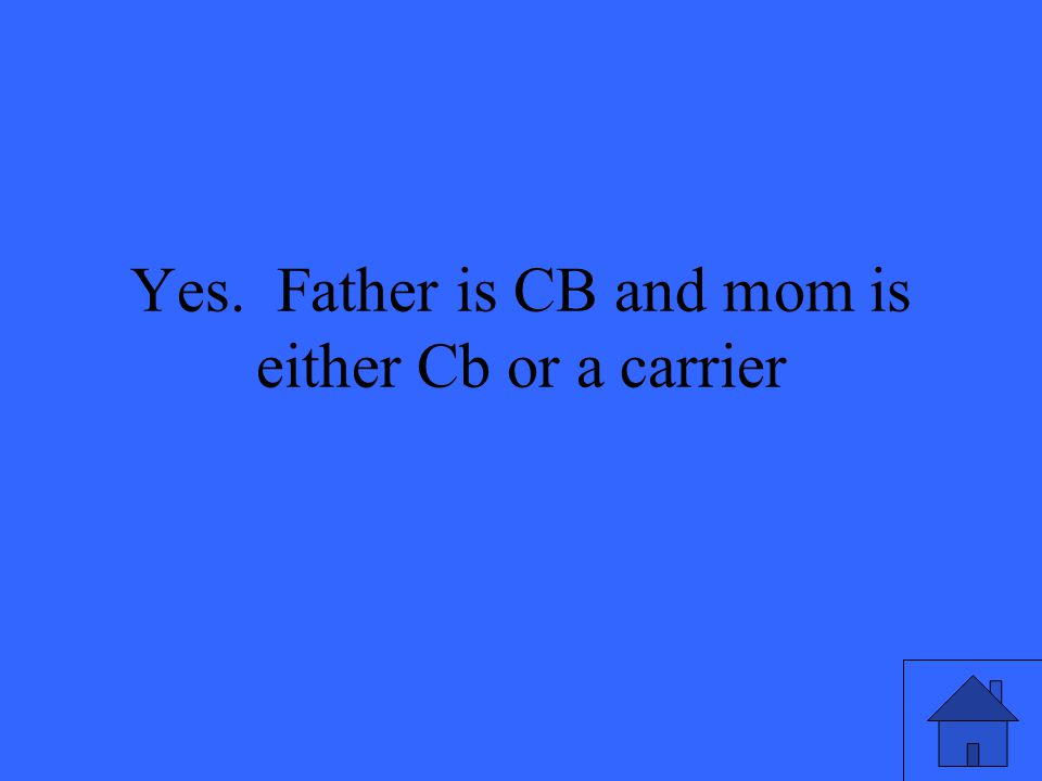 Yes. Father is CB and mom is either Cb or a carrier