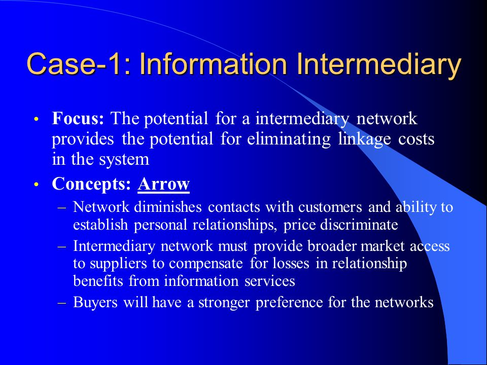 Case-1: Information Intermediary Focus: The potential for a intermediary network provides the potential for eliminating linkage costs in the system Co