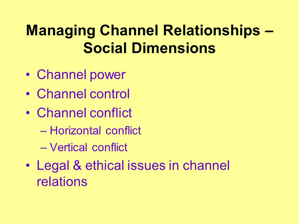 Managing Channel Relationships – Social Dimensions Channel power Channel control Channel conflict –Horizontal conflict –Vertical conflict Legal & ethical issues in channel relations