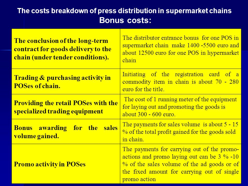 10 The costs breakdown of press distribution in supermarket chains Bonus costs: The conclusion of the long-term contract for goods delivery to the cha