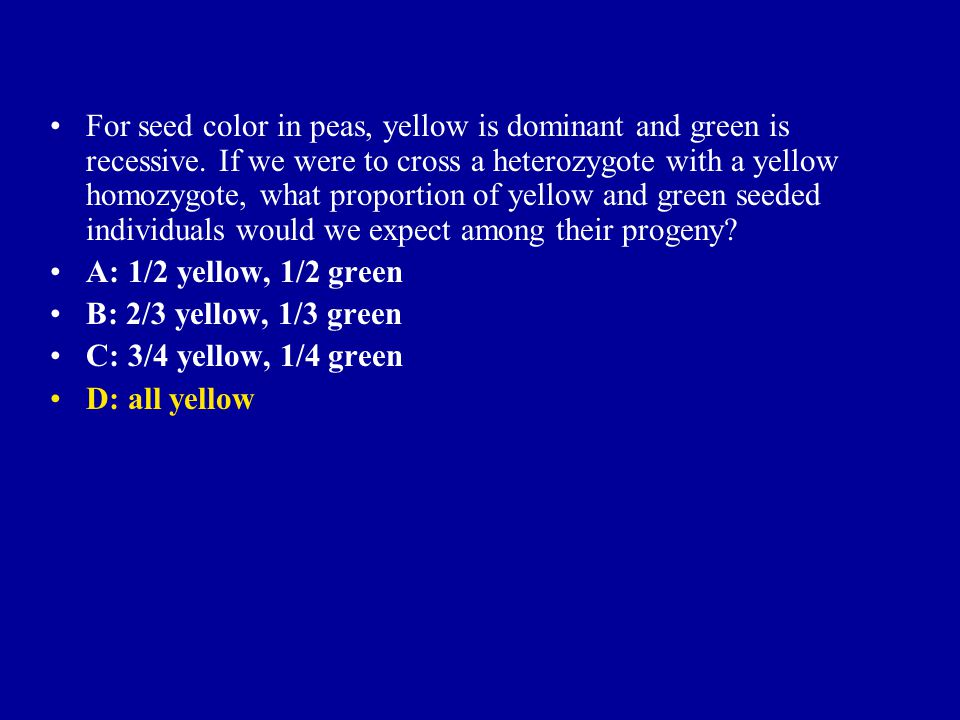 For seed color in peas, yellow is dominant and green is recessive. If we were to cross a heterozygote with a yellow homozygote, what proportion of yel
