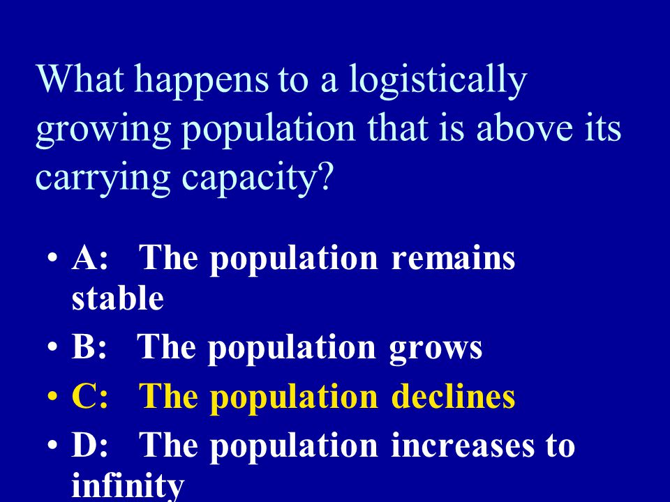 What happens to a logistically growing population that is above its carrying capacity.