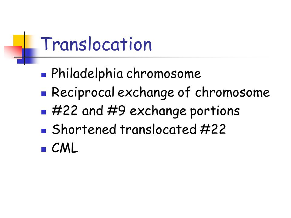 Translocation Philadelphia chromosome Reciprocal exchange of chromosome #22 and #9 exchange portions Shortened translocated #22 CML