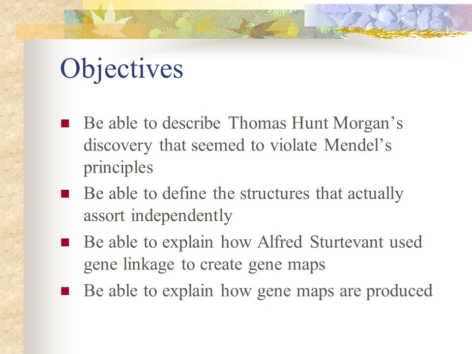 Objectives Be able to describe Thomas Hunt Morgan's discovery that seemed to violate Mendel's principles Be able to define the structures that actuall