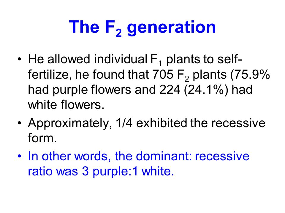 The F 2 generation He allowed individual F 1 plants to self- fertilize, he found that 705 F 2 plants (75.9% had purple flowers and 224 (24.1%) had whi