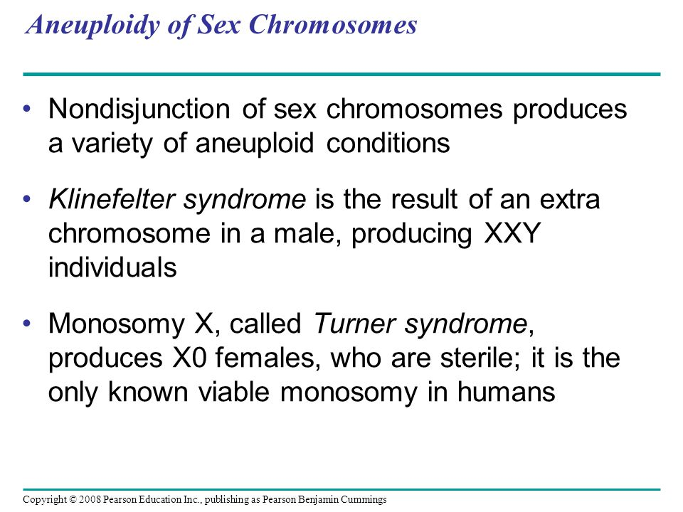 Aneuploidy of Sex Chromosomes Nondisjunction of sex chromosomes produces a variety of aneuploid conditions Klinefelter syndrome is the result of an extra chromosome in a male, producing XXY individuals Monosomy X, called Turner syndrome, produces X0 females, who are sterile; it is the only known viable monosomy in humans Copyright © 2008 Pearson Education Inc., publishing as Pearson Benjamin Cummings