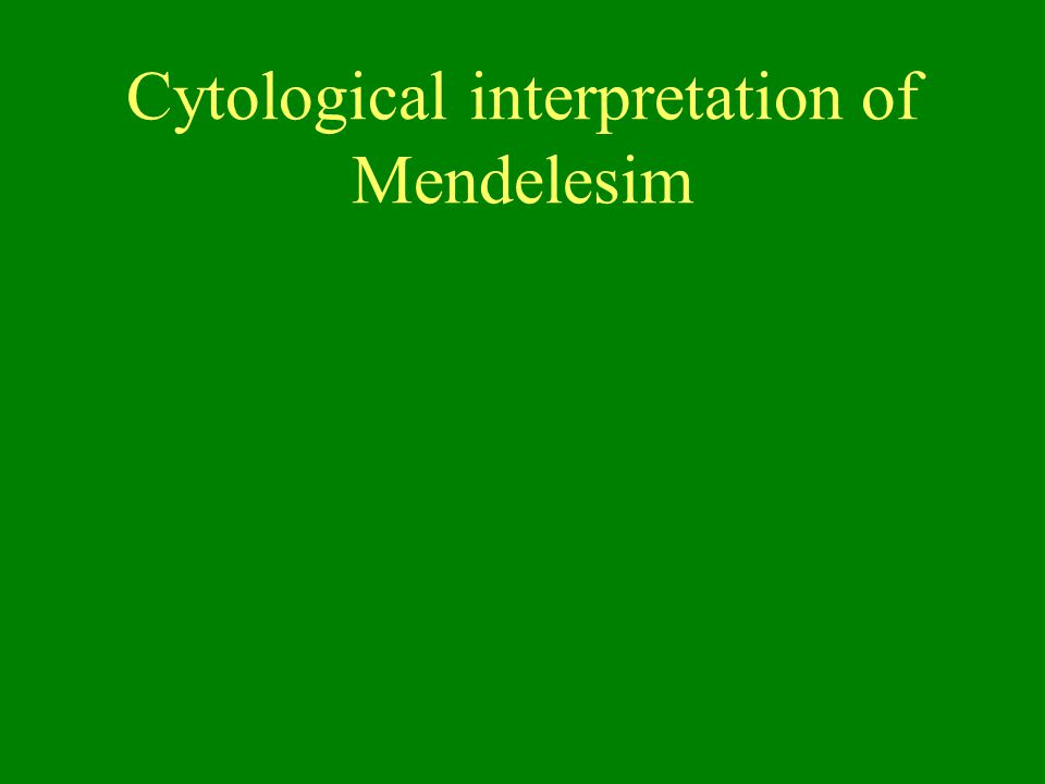 Cytological interpretation of Mendelesim