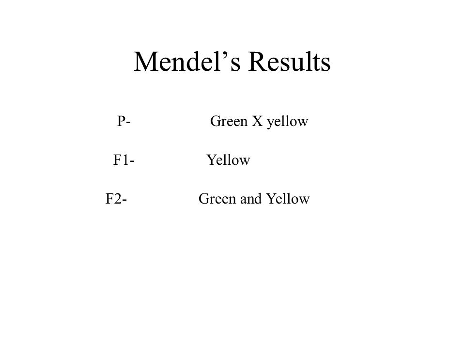 Mendel's Results P-Green X yellow F1-Yellow F2-Green and Yellow