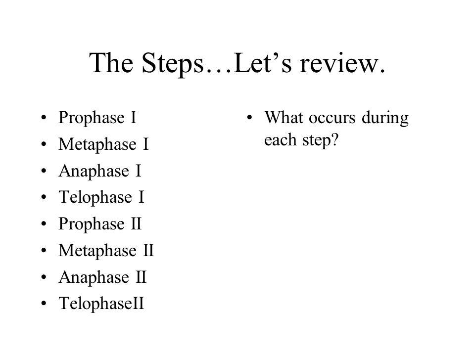 The Steps…Let's review. Prophase I Metaphase I Anaphase I Telophase I Prophase II Metaphase II Anaphase II TelophaseII What occurs during each step?