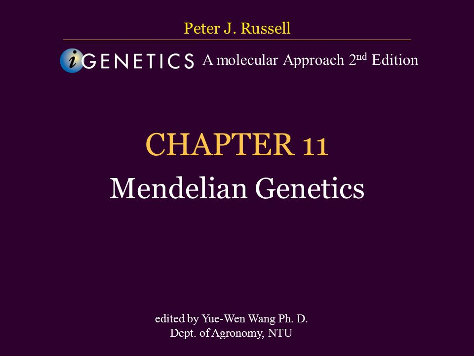 台大農藝系 遺傳學 601 20000 Chapter 10 slide 2 Introduction 1.Gregor Mendel (1822–1884) laid the foundation for our current understanding of heredity.
