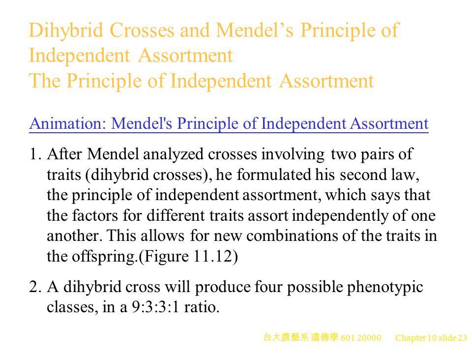 台大農藝系 遺傳學 601 20000 Chapter 10 slide 24 Branch Diagram of Dihybrid Crosses 1.Dihybrid crosses can be represented with either a Punnett square or a branch diagram.