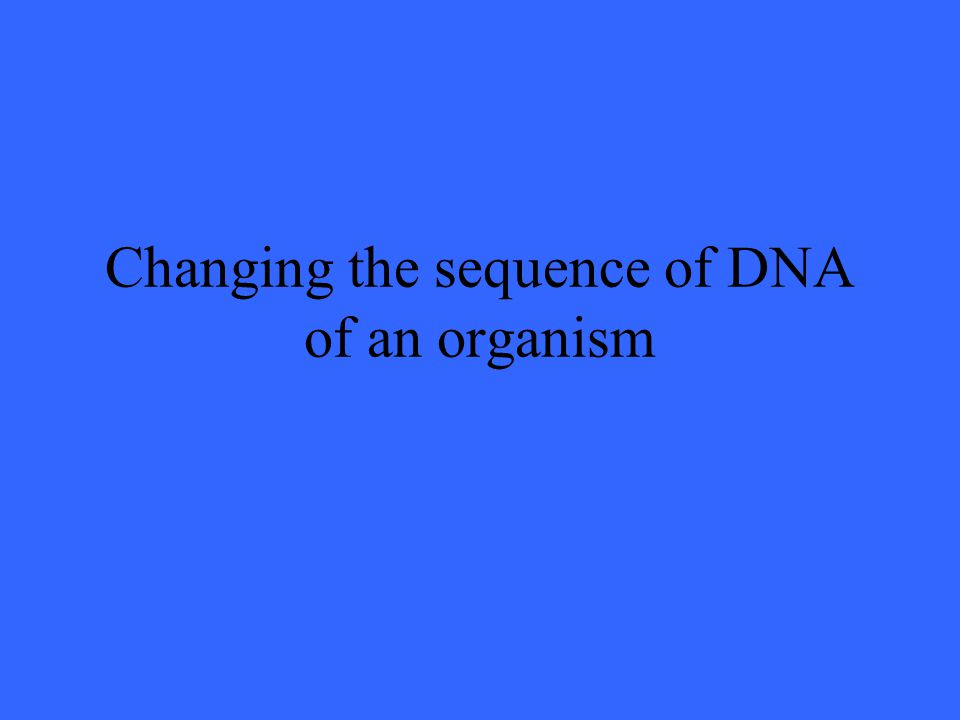 Changing the sequence of DNA of an organism