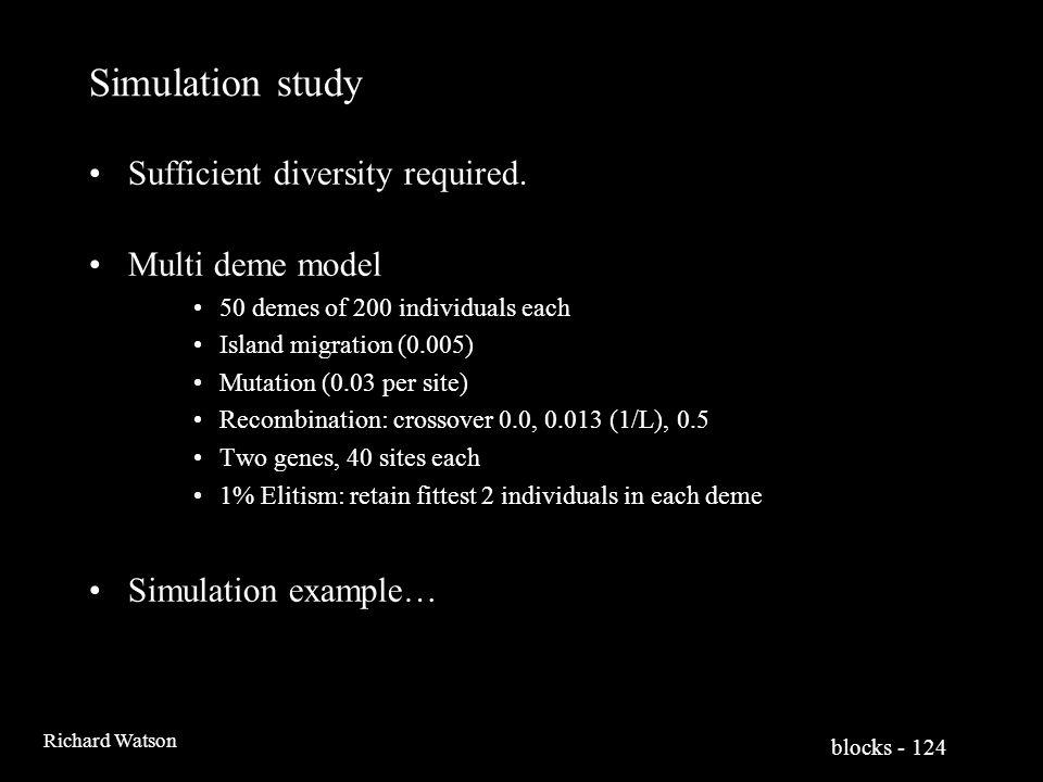blocks - 124 Richard Watson Simulation study Sufficient diversity required.