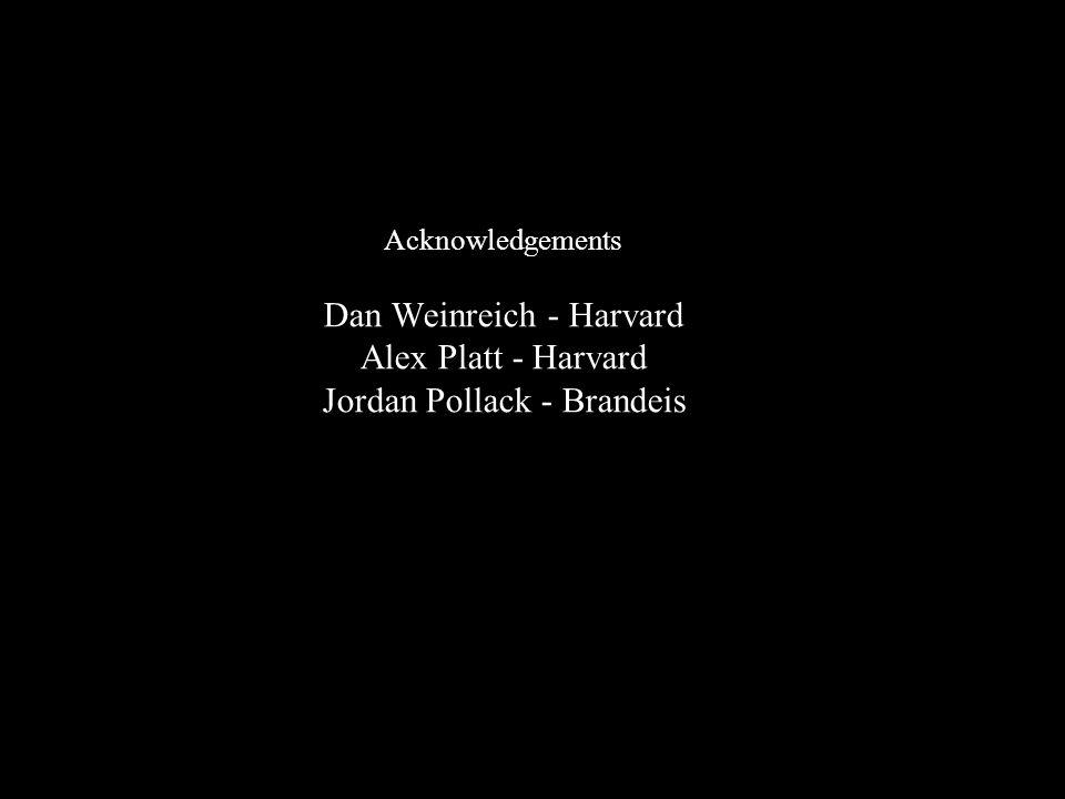 Acknowledgements Dan Weinreich - Harvard Alex Platt - Harvard Jordan Pollack - Brandeis