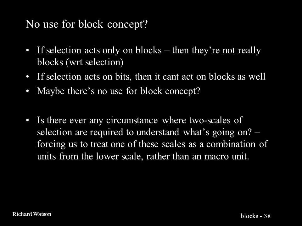 blocks - 38 Richard Watson No use for block concept.