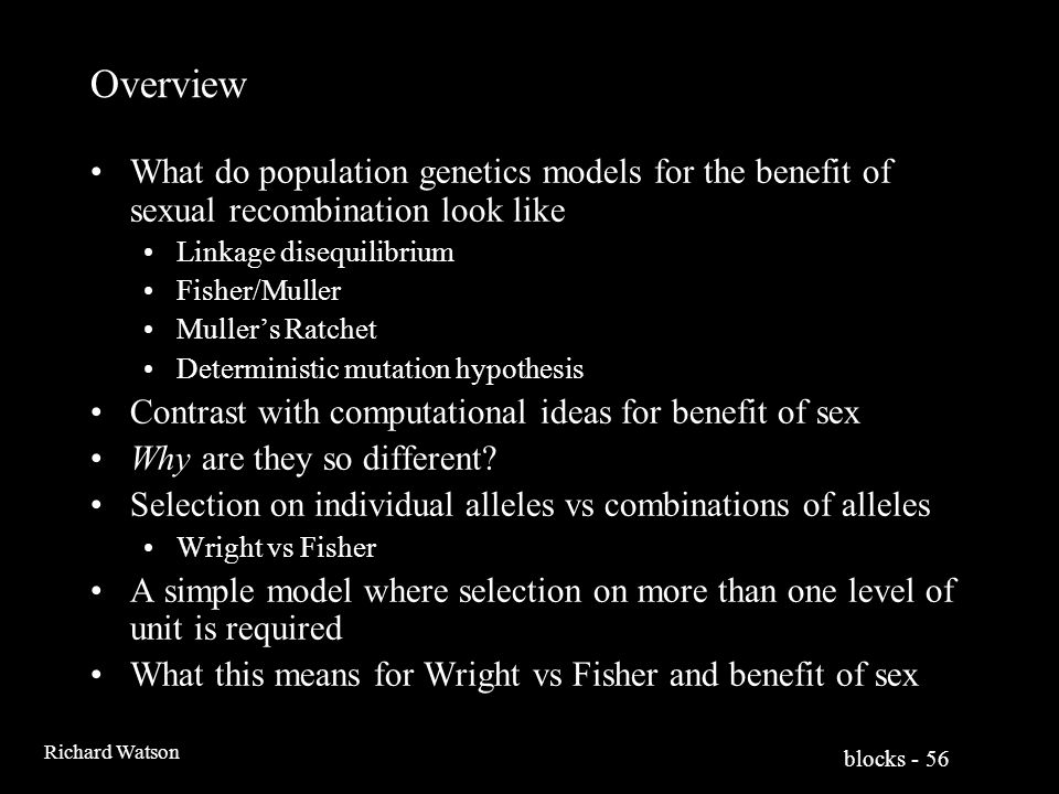 blocks - 56 Richard Watson Overview What do population genetics models for the benefit of sexual recombination look like Linkage disequilibrium Fisher/Muller Muller's Ratchet Deterministic mutation hypothesis Contrast with computational ideas for benefit of sex Why are they so different.