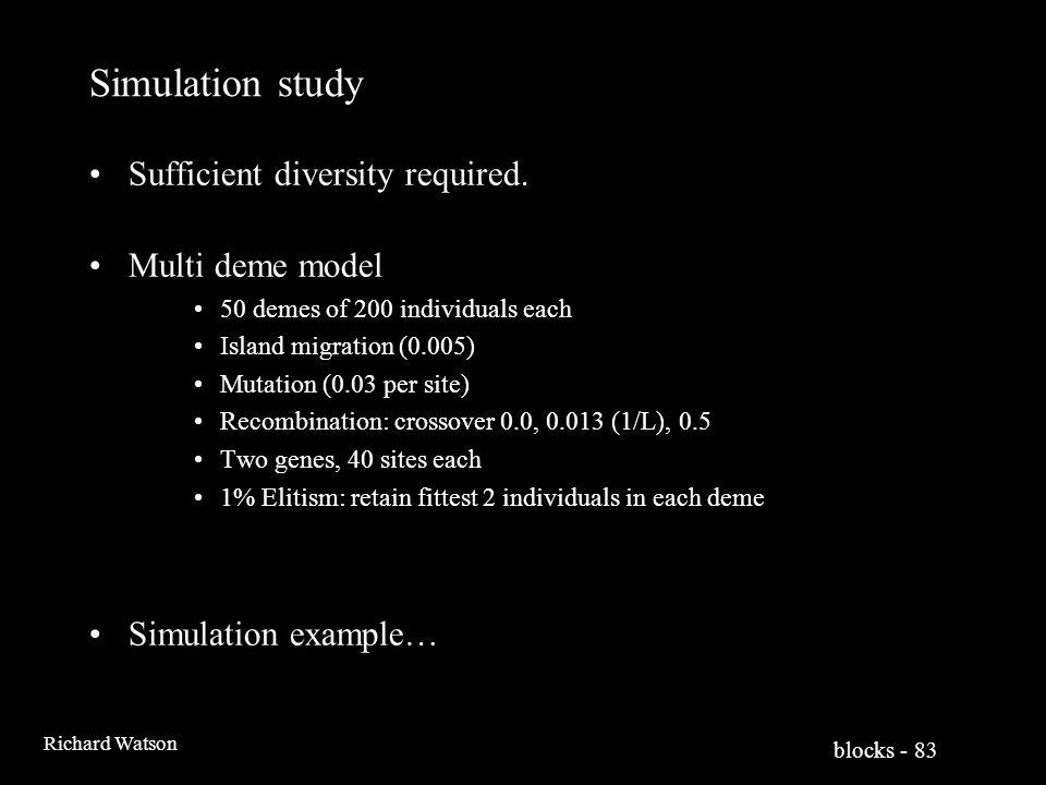 blocks - 83 Richard Watson Simulation study Sufficient diversity required.